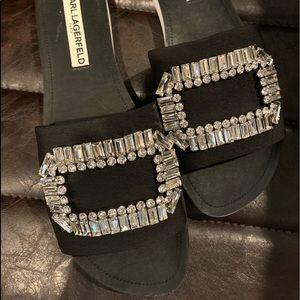 Karl Legerfeld Mirah embellished slip on sandal